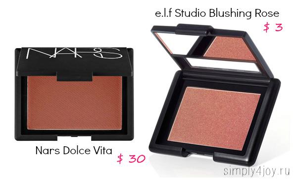 NARS Dolce Vita vs ELF Studio Blushing Rose