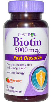Natrol, Biotin, Strawberry Flavor, 5000 mcg