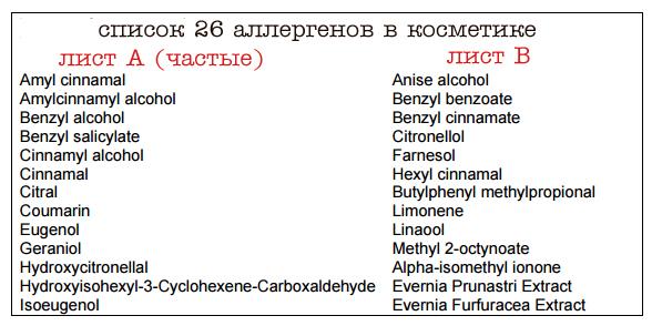 список 26 аллергенов. анализ состава косметики