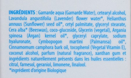Gamamrde Cream Mask Hydratation Active inci